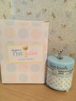Nat and Jules First Tooth Keepsake Box With Bear Tooth Fairy Blue Boy NIB