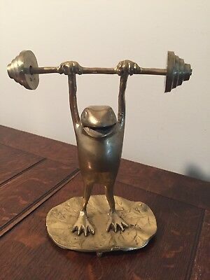 """Vintage Solid Brass Power Lifting Frog 7 1/2"""" Statue"""