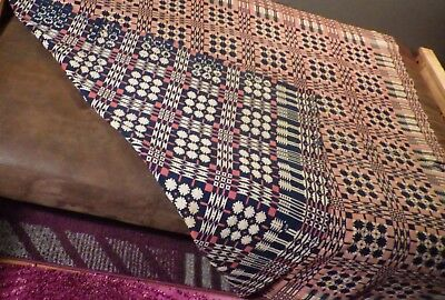 """Antique Woven Coverlet Red White Blue Reversible 76"""" x 68"""" Overshot 1840's"""