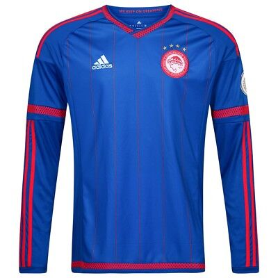 Adidas Mens Olympiakos 15-16 Away Ls Football Soccer Jersey Blue - M-2Xl S89354
