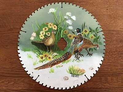 Large HAND PAINTED SAW BLADE Ringneck Pheasant & Flowers BY J FREDERICK 14""