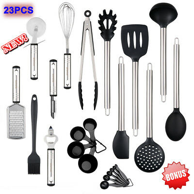 23PCS Stainless Steel Kitchen Utensil Set Nonstick Cookware Spatula Serving Tool