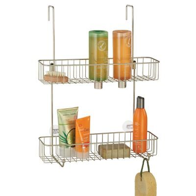 Hanging Shower Basket Caddy With Hooks Over Shower Head Bath