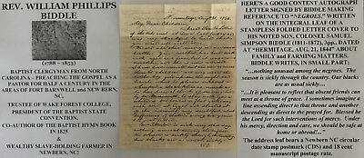 Baptist Hymn Book Slave Clergyman New Bern Nc Wake Forest College Letter Signed!