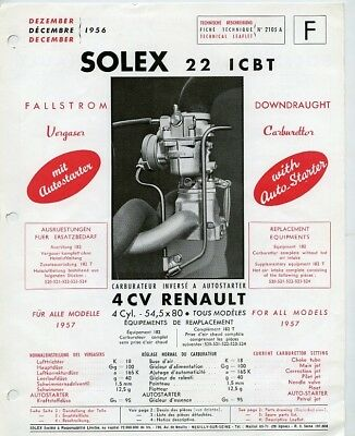 Dec 1956 Renault 4CV Solex 22 ICBT Brochure English German French wz8578