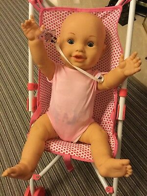 """18"""" Cititoy Baby Doll All Vinyl With Closing Eyes With A Baby Born Dummy & Bag"""