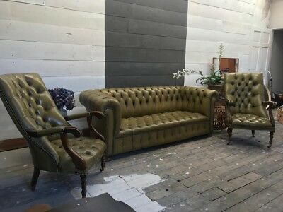 Original Victorian Green Leather Chesterfield Sofa And Two Library Chair