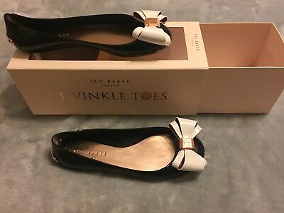 d9d2def3322 Ted Baker Twinkle Toes Ladies Pumps Flats Size 4 Black And Cream - BNIB