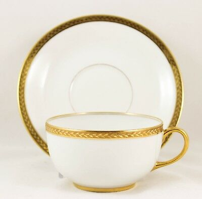4 Sets Cups & Saucers Antique Vignaud Limoges China Raised Gold Encrusted Laurel