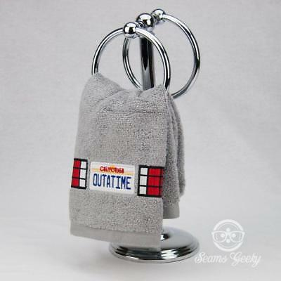 Back to the Future Hand Towel - OUTATIME Delorean License Plate- Embroidered Tow