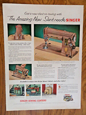 1952 1953 Vintage Singer Sewing Machine Ad New Slant-Needle Singer