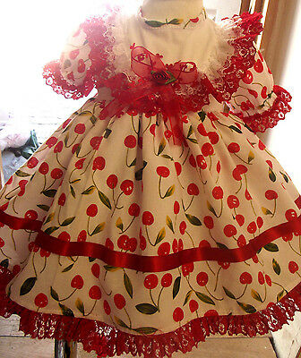 Dream Clearance Baby Red Cherry Hearts Spanish Dress 0 - 4 Year Or Reborn Dolls