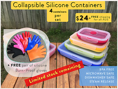 Brand New COLLAPSIBLE Silicone Storage Lunchbox Containers + FREE Gloves*