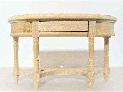 Dollhouse Miniature Unfinished Wood Hall or Side Table with Opening Drawer 1:12