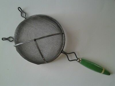 Vtg Large Green Wood Handle Metal Kitchen Strainer Sifter Excellent Condition