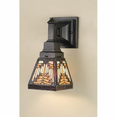 Meyda Tiffany 66524 Stained Glass Tiffany Down Lighting Sconce, Mission Series