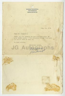 Norman Rockwell - American Art Icon - Autographed Letter from 1974