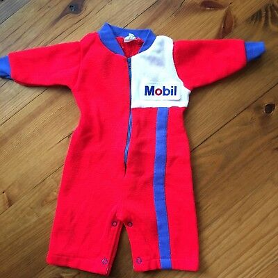 Vtg Baby Jumper Sleeper Mobil Oil Advertising Patch 70's Race Car Coveralls