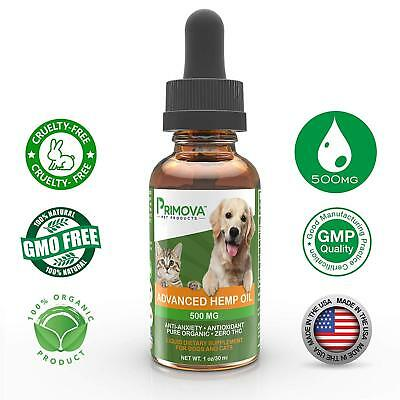 Primova Hemp Oil for Dogs & Cats with Omega 3 6 9 - Natural Organic 500MG