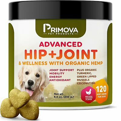 Primova Hemp Hip&Joint Supplement for Dogs 120 Soft chews - Improves Mobility