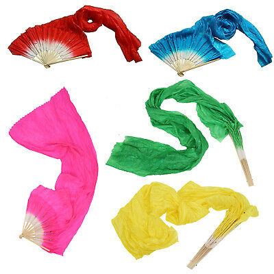 1X(Hot sale 1.8m Hand Made Belly Dance Dancing Silk Bamboo Long Fans Veils R7H7)