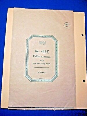 VINTAGE SCRAP BOOK MANILA 2-HOLE FILLER PAGES No. 443-F – 4 Sheets