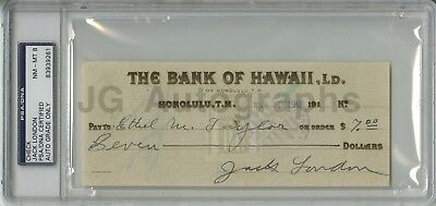 Jack London Gem Mint 10 PSA/DNA Slabbed Check from 1913 American Author