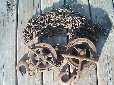Vintage MAYRATH 1/2 Ton Manual Chain Hoist Complete w/ both hooks and pulleys