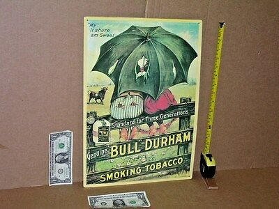 BULL DURHAM TOBACCO -Metal Sign -from NORTH CAROLINA -Shows Couple Kissing - WOW