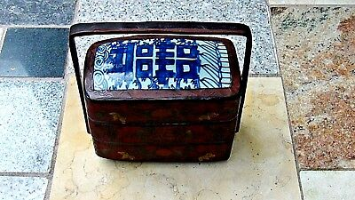 ANTIQUE 19c CHINESE WOOD HAND PAINTED LACQUERED WEDDING BOX W/PORCELAIN PAINTING
