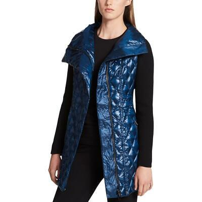 Tommy Hilfiger Womens Blue Zip Pocket Mixed Media Ribbed Vest XL BHFO 0238
