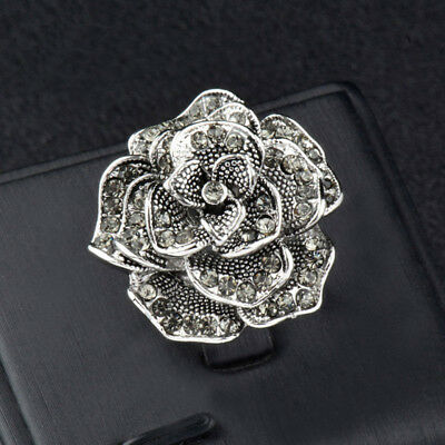 Vintage Cubic Zirconia Big Flower Rings For Women Jewelry Antique Silver Plated
