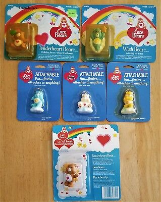 Care Bears MIP Vintage 3 Attachables + 3 Miniatures