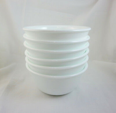 Set of 6 CORELLE WINTER FROST WHITE 12 Oz BOWLS - Custard, Dessert Cups, Rice