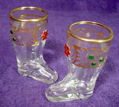 Pair VINTAGE Glass BOOT Toothpick Holders SHOT GLASSES Gold SEQUIN Gem CELLE Set