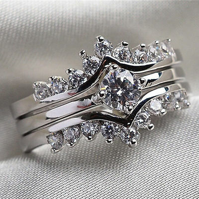Round Cut CZ Stainless Steel Couple Ring Set Men/Women's Wedding Band Size 6-10