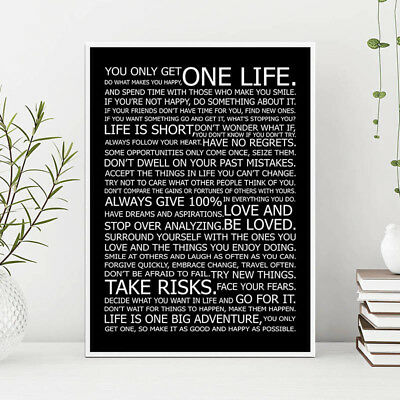 Life Motivational Quote Canvas Print Black White Poster Wall Art Painting Decor