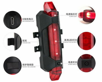 USB Rechargeable Bicycle Tail Light 5 LED Safety Cycling Warning Rear Lamp SS674