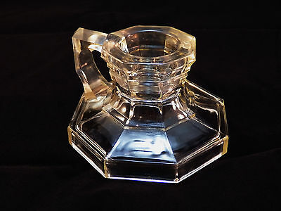 Vintage Antique Octagonal Clear Glass Chamberstick Candle Holder