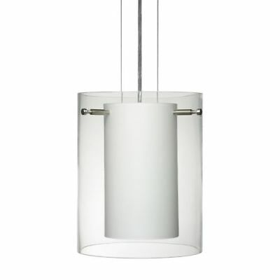 Besa Lighting 1KG-C00607-SN Pahu 1-Light Cable-Hung Pendant with Clear / Opal Gl