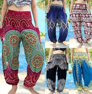 Harem Pants Trousers Mens Womens Hippie Alibaba Gypsy Baggy Yoga Gym Festival