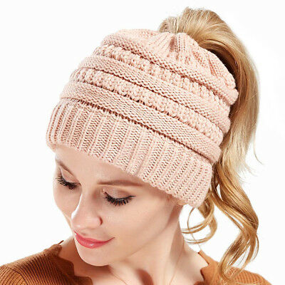 Womens Beanie Tail Messy High Bun Ponytail Hat Knit Winter Cap Hole Slouchy