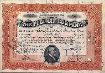 Vintage stock certificate Pullman Company drown to Bank of Italy, 1915
