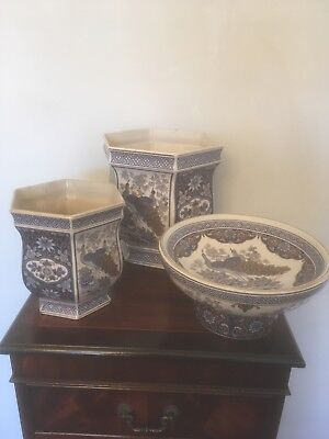 vintage antique panda pottery set of 3 in good condition,