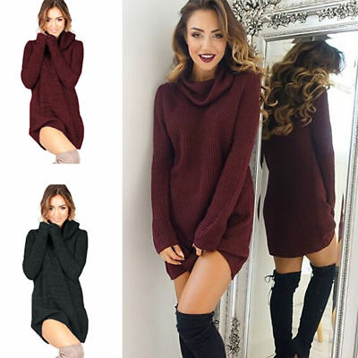 Women Winter Long Sleeve Loose Knitted Autumn Sweater Tops Pullover Jumper Dress