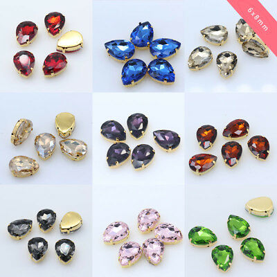 30 6x8mm Pear glass stone sew on crystal rhinestone gold base button for clothes
