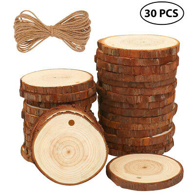 20/30X Wood Slices Craft Wood Kit Unfinished Predrilled with Hole Wooden Circles