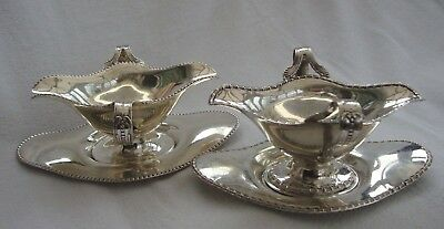 Two A Pair Of Silver Plated Epns Gravy Sauce Boats Tableware On Drip Trays