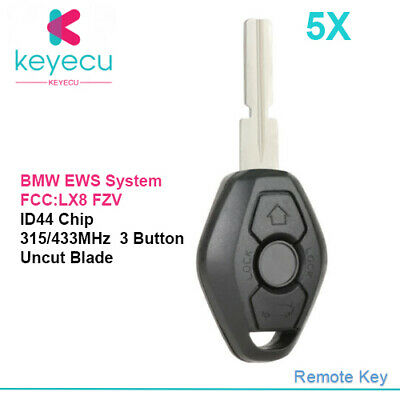 5X EWS Remote Key Fob 315/433MHz ID44 for BMW 1 3 5 7 Series E38 E39 E46 HU58