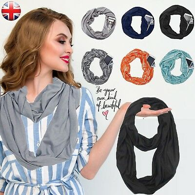 Women's Lady's Fashion Winter Thermal Active Infinity Scarf With Zip Pocket UK